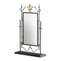 Black and Gold Arrow Table Mirror on Stand - *Shetland Mirror on Stand