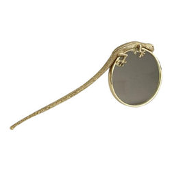 "L'Objet - L'Objet Gecko Magnifying Glass - L'Objet is best known for using ancient design techniques to create timeless, yet decidedlymodern serveware, dishes, home decor and gifts. eleganceand charm.Meticulously handcrafted with 14 kt gold plated details8.5"" Long'Luxuriously Gift BoxedFrom L'ObjetImported"