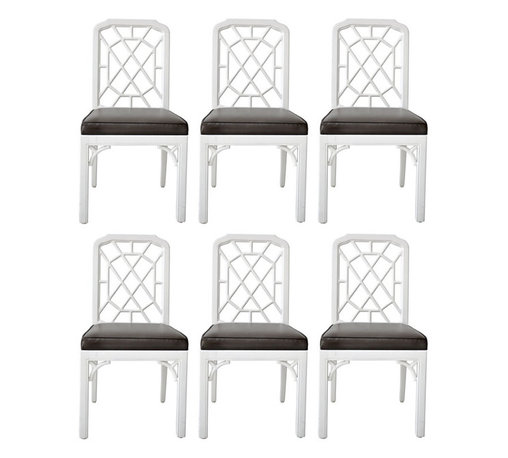 Set of Chinese Chippendale Dining Chairs - The Chinese chippendale-style chair is a timeless classic. It would be great paired with a variety of table styles and in both formal and casual settings.