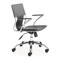 Zuo Modern - Trafico Office Chair Black - This fun and functional office chair combines a modern and transitional look. The Trafico office chair is made from a solid chrome frame, leatherette sling seat and arm pads, a chrome base, and an adjustable height mechanism.