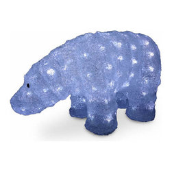 8 In. Acrylic Bear Christmas Decoration with 120 LED Lights - Measures 8 inch high. Pre-lit with 120 UL listed cool white LED lights. Low voltage LED bulbs are energy-efficient, long lasting and cool to the touch. For indoor or outdoor use. Packed in reusable storage carton.