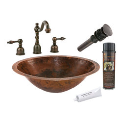"Premier Copper Products - 20"" Oval Under Counter Sink w/ ORB Faucet - PACKAGE INCLUDES:"