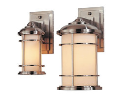 Murray Feiss - Murray Feiss Lighthouse Outdoor Wall Mount Light Fixture in Brushed Steel - Shown in picture: Lighthouse Wall Mount Lantern in Brushed Steel finish with Opal etched glass