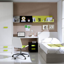 """Funky Kids Bedroom Set - This Kids bedroom Set includes: 2-Door Wardrobe w/Soft Closing Mechanism, Shelf with Panel 17"""", Shelf with Panel 25"""", Shelf with Panel 40"""", One Nightstand w/Soft Closing Mechanism, Fixed Desk, Twin Size Storage Platform Bed with Headbord. This Kids set will definitely look cool and funky in your child's or teen's bedroom."""