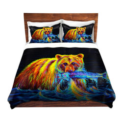 DiaNoche Designs - Duvet Cover Twill - Night of the Grizzly - Lightweight and soft brushed twill Duvet Cover sizes Twin, Queen, King.  SHAMS NOT INCLUDED.  This duvet is designed to wash upon arrival for maximum softness.   Each duvet starts by looming the fabric and cutting to the size ordered.  The Image is printed and your Duvet Cover is meticulously sewn together with ties in each corner and a concealed zip closure.  All in the USA!!  Poly top with a Cotton Poly underside.  Dye Sublimation printing permanently adheres the ink to the material for long life and durability. Printed top, cream colored bottom, Machine Washable, Product may vary slightly from image.