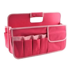 Neatnix - Stuff Craft Tool Box, Hot Pink with Light Pink - Our Stuff Craft Tool Box is ready to organize and sort out your everything from your craft tools and jewelry to cosmetics. Includes two divided sections and 15 exterior pockets.