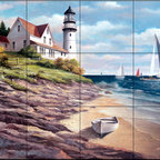 The Tile Mural Store (USA) - Tile Mural - Sailing The Safe Harbor Ii  - Kitchen Backsplash Ideas - This beautiful artwork by T.C. Chiu has been digitally reproduced for tiles and depicts a Lighthouse with sailboats in the background  Our lighthouse tile murals and nautical themed decorative tiles are perfect as part of your kitchen backsplash tile project or your tub and shower surround bathroom tile project. Lighthouse images on tiles add a unique element to your tiling project and are a great kitchen backsplash idea. Use a lighthouse scene tile mural for a wall tile project in any room in your home where you want to add interest to a plain field of wall tile.