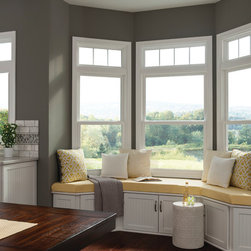 Eating Nook Windows: Bay Double Hung - White double hung vinyl replacement windows from Feldco.