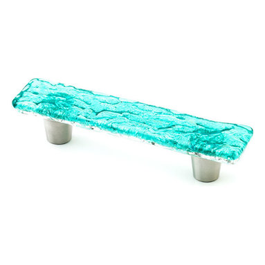 "Windborne Studios - Pearl Glass Knobs and Pulls, Turquoise, 1"" X 4.5"" - Windborne Studios creates beautiful handmade glass decorative hardware."
