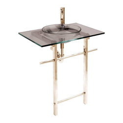 Renovators Supply - Console Sinks Smoke Glass Water Lily Gold PVD  Console Sink - Glass Sinks: This tempered glass sink package includes basin, counter, faucet, drain, p-trap, and towel bar. See site for detailed product information and measurements.