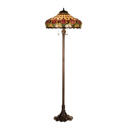 Meyda Tiffany - Meyda Tiffany Colonial Tulip Tiffany Floor Lamp X-07011 - From the Colonial Collection, this Meyda Tiffany floor lamp features blooming tulip trim complimented by warm hues. Pearlescent beige panels have been paired with plum pink and spring green with amethyst jewel accents. Pulling the look together is a traditional Mahogany Bronze finish.