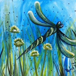 Dragonfly And Dandelions (Original) by Renee  Dumont - Inspired by the joy of summertime. The atmosphere of sunny days and the beauty of the dragonfly! I am always amazed when swimming here on the lake and these little creatures land on my arms and legs.
