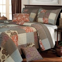 Greenland Home Fashions Stella Quilt Set - Add the pizazz of some print to your space with the Greenland Home Fashions Stella Quilt Set. This cozy quilt set is constructed of 100% cotton in a pretty patchwork pattern featuring intricate floral medallions. Neutral tones make this set versatile while a vibrant pop of sienna adds a touch of modern flair. Machine-washable for your convenience this set comes with optional add-ons to complete the look. Choose your size and items for an instant bedroom makeover.