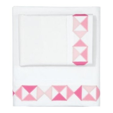 Serena & Lily - Juice Flag Sheet Set - Serena's artful nod to traditional quilt patterns, done up in a fresh palette of pinks. The simple appliqu&eacute d shapes take on a crafty, playful feel that's perfect for a kid's room.