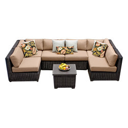 TKC - Rustico 7 Piece Outdoor Wicker Patio Furniture Set 07d 2 for 1 Cover Set - Features: