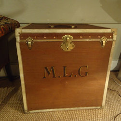Vintage Hat Trunk - Leather and brass nailheads, vintage hat trunk makes a great endtable