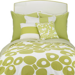 Oilo - Twin Modern Berries Duvet,  Spring Green - The pop-y design of this duvet is great for a modern home. It's playful and crisp, especially with the striped side folded over for contrast. This youthful shot of energy is just what your bedroom needs. Pillows not included.