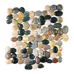 Indo Tile - Mixed Color Pebble Tile - Polished mixed color pebble tile, 100% natural Asian pebbles are assembled on interlocking mesh pattern for a seamless designer finish. A great looking  pebble tile with stunning tones of amber , browns, taupe, burgundy, grayish white and black stones artistically blended. The pebbles or ancient river rocks are sorted for color size and thickness ensuring the best gauge of pebbles for a uniform height and color pallet. The pebbles are then carefully reviewed again, hand selected then puzzled into a patented interlocking mesh pattern. The result is a premium pebble tile with superior consistency and quality. Each tile assembly is on a sturdy nylon mesh backing using an environmentally safe glue. The patented interlocking pattern is designed so the pebble tiles fit together seamlessly when installed.  The final installed result is a seamless field of pebbles with no detectable tile pattern.