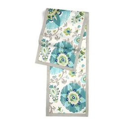 Aqua Suzani Custom Table Runner - Set a table for a king! or just your family and friends!! with our gorgeous Tailored Table Runner. Solid edging adds a touch of refinement, perfectly setting off the center fabric. We love it in this eclectic blue and aqua outdoor print where suzani meets sunshine.