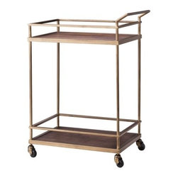 Threshold Wood and Brass Finish Bar Cart - Brass is kind of having a moment right now, and I love it! I really like the brass and wood combo of this cart, and it's super affordable compared to other options. Bar carts are a great way to corral all your bar items, and the wheels make it super versatile — you can move it anywhere in the house!