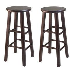 "Winsomewood - Set of 2 Square Leg, 29"" Bar Stool - Solid wood construction bar stool. Fully assembled. Square leg. Bevel seat provides comfort seating. Antique walnut finish."