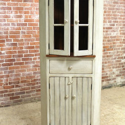 White Farmhouse Corner Cabinet - Made by http://www.ecustomfinishes.com