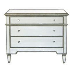 Worlds Away - Worlds Away Cary Silver Mirrored Chest - Hollywood Regency is at its height of glamour with this three drawer mirrored chest. This stunning piece features an antique champagne silver edge and glass knobs, for an ultra chic look to your bedroom or vanity area.