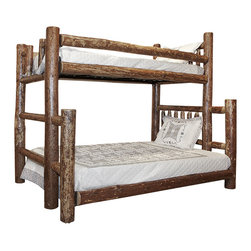 """Montana Woodworks - Montana Woodworks Twin/Full Bunk Bed in Glacier Country - This wonderful twin over full bunk bed provides for a bit more room in the bottom bunk. The full bunk bed on the bottom being wider, extends past the width of the twin upper bunk. This """"Extension"""" can be ordered either right or left. Standing facing the footboard, a right extension will extend to the right, a left extension will extend to the left. Both the upper and lower bunks come with a """"Bunky board"""" mattress support. Maximum recommended mattress thickness for the top bunk is 6"""". Skilled craftsmen patiently finish the bed in the """"Glacier Country"""" collection style for a truly unique and one-of-A-kind- look reminiscent of the Grand Lodges of the Rockies, circa 1900. We remove the outer bark while leaving the inner, cambium layer intact for contrast and texture. The finish is completed by an eight step, professional stain and lacquer process. Careful assembly by hand ensures the bed will last a lifetime. Some assembly required. 20-year limited warranty included at no additional charge."""