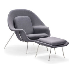 ZUO - Nursery Lounge & Ottoman - Light Gray - Perfect for reading, knitting, or baby rocking. The Nursery Lounge and Ottoman is an oasis of peace. Comes in light gray or white.