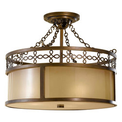 Murray Feiss - Murray Feiss SF274ASTB Justine Transitional Semi Flush Mount Ceiling Light - Glass diffuser included.