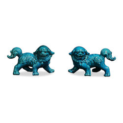 """China Furniture and Arts - Porcelain Blue Foo Dogs - As fantasy lions of Chinese mythology, Foo Dogs always stand in pairs to serve as guardians to prevent harmful things from happening to the family. This pair is painstakingly hand made by skilled craftsmen in China. Great to display on a mantel or side table as a symbolic Asian accent. Each one is 11""""L x 5""""W x 7.5""""H."""