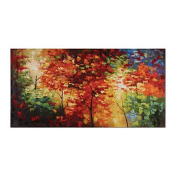 Uttermost - Uttermost Bright Foliage 60x30 Canvas Art - This vibrant, frameless hand painted oil on canvas is stretched and attached to wood stretching bars. Due to the handcrafted nature of this artwork, each piece may have subtle differences.