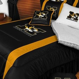 Sports Coverage - Missouri Tigers NCAA Bedding - Sidelines Comforter and Sheet Set Combo - Queen - This is a great Missouri Tigers NCAA Bedding Comforter and Sheet set combination! Buy this Microfiber Sheet set with the Comforter and save off our already discounted prices. Show your team spirit with this great looking officially licensed Comforter which comes in new design with sidelines. This comforter is made from 100% Polyester Jersey Mesh - just like what the players wear. The fill is 100% Polyester batting for warmth and comfort. Authentic team colors and logo screen printed in the center.   Microfiber Sheet Hem sheet sets have an ultrafine peach weave that is softer and more comfortable than cotton.  Its brushed silk-like embrace provides good insulation and warmth, yet is breathable.  The 100% polyester microfiber is wrinkle-resistant, washes beautifully, and dries quickly with never any shrinkage. The pillowcase has a white on white print beneath the officially licensed team name and logo printed in vibrant team colors, complimenting the NEW printed hems. The Teams are scoring high points with team-color logos printed on both sides of the entire width of the extra deep 4 1/2 hem of the flat sheet.  Includes:  -  Flat Sheet - Twin 66 x 96, Full 81 x 96, Queen 90 x 102.,    - Fitted Sheet - Twin 39 x 75, Full 54 x 75, Queen 60 X 80,    -  Pillow case Standard - 21 x 30,    - Comforter - Twin 66 x 86, Full/Queen 86 x 86,