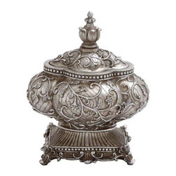 "Benzara - Attractive Silver Polystone Urn with Intricate Detailing - Attractive Silver Polystone Urn with Intricate Detailing. Polystone urn features a beautifully crafted design that is perfect for blending with all kinds of settings, ensuring versatile style. It comes with a dimension of 12""W x 10""D x 15""H. Some assembly may be required."
