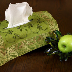 """Tissue Box Covers - Unique """"Citrus Green"""" Beautiful hand embroidered tissue box cover. Transform your ordinary Kleenex box to extraordinary!"""