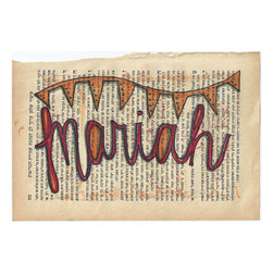 Mariah Name Art On Vintage Book Paper By Paper Petite - This name art on a vintage book page is just lovely.