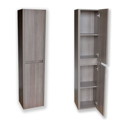 JWH Imports - Modern Side Cabinet Grey Oak - This minimalist wall mounted cabinet is sleek yet spacious and speaks to a spa-like vibe. It's the perfect piece for your personal comfort zone.