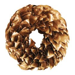 Magnolia Company - Gold Lacquer Wreath, 23x23 - This fun wreath is hand made of dried magnolia leaves. It will last for many seasons and will be the talk of your neighborhood. If used outdoors, it can be displayed in direct sunlight. Please keep out of direct moisture.