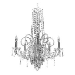 """The Gallery - New Crystal Chandelier Murano Venetian Style Chandeliers Lighting 24""""X28"""" - THIS MAGNIFICENT CHANDELIER IS ALL 100% CRYSTAL. Nothing is quite as elegant as the fine crystal chandeliers that gave sparkle to brilliant evenings at palaces and manor houses across Europe. This beautiful chandelier is decorated with 100% crystal that capture and reflect the light of the candle bulbs, each resting in a scalloped bobache. The crystal glass arms of this wonderful chandelier give it a look of timeless elegance that is sure to lend a special atmosphere in any home.Assembly Required Specification"""
