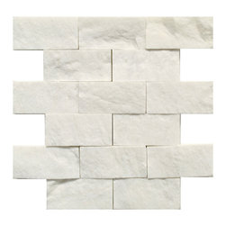 STONE TILE US - Stonetileus 4 pieces (4 Sq.ft) of Mosaic tile 2x4 White Split Face - Mosaic tile 2x4 White Split FaceFree shipping.. Set of 4 pieces, Covers 4 sq.ft.