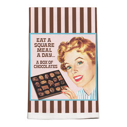 180-Eat A Square Meal Towel - These vintage kitchen towels will bring back great memories. Add a touch of fun in your kitchen.  Your friends will love them and company will admire your good taste. Silkscreened on 100% cotton.
