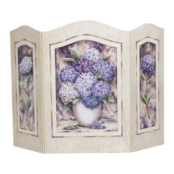 None - Hydrangea Shabby Chic Fire Screen - Add decorative beauty to your fireplace opening with this quaint fireplace screen. Handcrafted on MDF fiberboard,this gorgeous screen features graphics of bowls filled with hydrangeas,resulting in an effect that is both charming and peaceful.