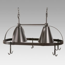 Oval Dutch Lighted Pot Rack with 8 Slip Hooks - Our Oval Dutch Lighted Pot Rack with Eight Slip Hooks does double duty in your kitchen. Its dual-light design adds illumination and four double slip hooks free up cabinet space by allowing you to hang your most-used pots and pans. It's a space-saving addition to any kitchen. Crafted from hand-forged iron it has a clean attractive style and a natural black finish that will blend in beautifully with any kitchen decor. The four double slip hooks are loose allowing you to place them in any configuration around the rim and you can purchase additional 1-foot sections of chain to accommodate high ceilings. Made in the USA. Dimensions: 36L x 20W x 14H inches. Weighs 34 pounds.About Stone County Ironworks.Stone County Ironworks creates heirloom hand-forged iron furniture. The company's blacksmiths use artistic ability and traditional tools like the hammer anvil and forge to create unique works of art naturally. For 30 years Stone County Ironworks has worked with designers and dreamers all over the country - sometimes forging through a completed drawing provided by a client and sometimes working only with an idea to discover and create just the right design. The company's quality workmanship that reflects the skill of the blacksmith continues to set it apart from other manufacturers.