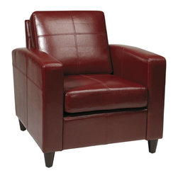 Avenue Six - Avenue Six Venus Club Chair in Crimson Red Eco Leather - Avenue Six - Club Chairs - VNS51ACBD - The Eco leather design of the Venus Club Chair exudes class and distinction, while also providing comfort and reliability. Available in is Espresso or Crimson Red, this statement piece boasts tool-less assembly, making it a no brainer for your home!
