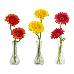 Nearly Natural - Gerber Daisy with Bud Vase Set of 3 Multicolor - 1248-A1 - Shop for Floral Decor Silk Flowers and Greenery from Hayneedle.com! About Nearly Natural Inc.For over 75 years Nearly Natural Inc. has been providing conscientious consumers with beautiful alternatives to natural decorations. Employing and advised by naturalists who understand the live plant world Nearly Natural is able to recreate the most realistic-looking decorative items for homes offices and businesses. Driven by a true commitment to customer service attention to detail and natural philosophy Nearly Natural strives to bring customers the most beautiful unique and striking faux fauna and flora on the market.