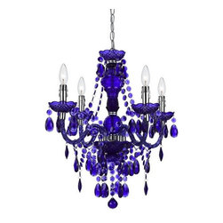 Elements - Elements Naples Chandelier X-H4-1868 - Our fashion color mini in purple is great to use in any d&#233:cor to bring that pop of color and fun. Crafted in cut plastic our 4-light mini comes with a swag kit, it can also be hardwired if needed. Dripping with lots of teardrops and beads making this a fu