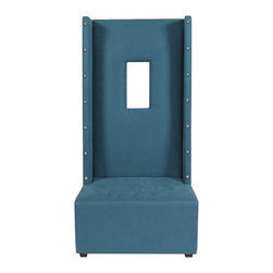 Howard Elliott - Mojo Turquoise with Tacks High Ball Chair - Our High Ball Chair is bold and contemporary! It features hand crafted faux leather upholstery and an exaggerated high back with a window cut out right in the frame! But don't let the straight back fool you, this chair is incredibly comfortable.