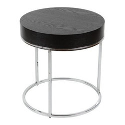 Mog Side Table - The contemporary Mog Side Table fits into any modern setting. This side table has a circular metal base with polished chrome finish. It's crowned with a thick, wood veneer top in bold black finish. About Whiteline:With a product line that includes prime leather sofas, comfortable beds, and elegant dining room furniture, Whiteline delivers modern and contemporary styles along with cozy comfort. Whiteline has 15 years of experience building furniture, along with a worldwide network of skilled manufacturers to help them give you the best value for your money. And their huge collection of designs is sure to have something to suit your contemporary tastes.