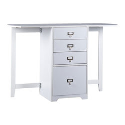"""Holly & Martin - Holly & Martin Paige White Fold-Out Organizer & Craft Desk X-04-0-710-681-52 - Whether you need organization in the office, craft room or bedroom this folding organizer desk is a unique space saving solution. With the leafs on each side folded down, this desk is as small as a common end table or file cabinet. Open both sides for a very functional 48"""" work area. Three small drawers make room for common items and a lower letter file is perfect for bills and paperwork. Get organized today and have space left over!  - Open - 48"""" W x 15.75"""" D x 31"""" H                                                                       - Closed - 19.5"""" W x 15.75"""" D x 31"""" H                                                                   - 3 Top Drawers - 14.5"""" W x 11.25"""" D x 5"""" H                                                             - Letter File Drawer - 14.5"""" W x 11.25"""" D x 11.75"""" H                                                    - Area under fold out top is 13"""" W x 15.75"""" D x 30.5"""" H                                                 - Drawer unit is 16"""" W x 15.75"""" D x 30.5"""" H                                                             - White Finish                                                                                          - Constructed of MDF and melamine paper                                                                 - Assembly required"""