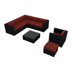 Harmonia Living - Urbana 8 Piece Modern Patio Sectional Set, Henna Cushions - Place this roomy eight-piece outdoor seating set by pool or patio and make your guest list.